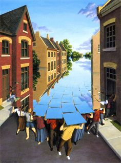 Illusion Art : Rob Gonsalves is an artist from Toronto, Canada. His art works are mixing of creativity and optical illusion. He mixes elements to create amazing transitions from bridges to clouds to Optical Illusion Paintings, Amazing Optical Illusions, Magic Illusions, Illusion Kunst, Illusion Art, Canadian Painters, Canadian Artists, Amazing Paintings, Amazing Art