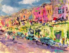 Colorful tropical town painting, Havana Caribbean art scenic abstract expressionist impressionist painting with town, buildings cars, people by RussPotakArtist on Etsy