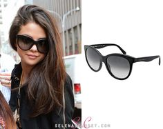 Selena Gomez has recently been spotted sporting a new pair of sunglasses, specifically the Dolce & Gabbana DG4149 Sunglasses in color Black. We haven't found any stores selling Selena's exact color, but Zappos.com have the exact same model in other colors on sale for $210.00.   Check them out HERE  Thanks for the tip dolwithsel!  In this picture she's also wearing a Burberry trench coat, 3.1 Phillip Lim tee and House of Lavande necklace (sold out).