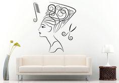 Nefertiti Hair Salon Spa Wall Room Decal Vinyl Sticker Mural Decor Art L1231 #3M #WallStickerDecalMuralRoomArtDecor