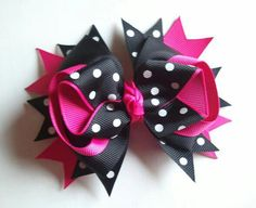 Hot Pink and Black Polka Dot Hair Bow