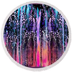 """#2262 Fantasy Forest Round Beach Towel by Expressionistart studio Priscilla Batzell.  The beach towel is 60"""" in diameter and made from 100% polyester fabric."""