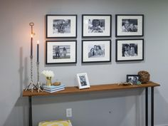 """per HGTV.com: """"Display your favorite photos in a gallery wall and switch them out whenever you'd like..."""" Piece of cake if you use Easy-Gallery® frames – and you can store the old photos in back. (It's kind of like having your photo albums on the wall!)"""