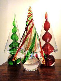 murano glass christmas trees