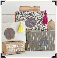 One of a kind cosmetic pouches from Lacefield.  Proceeds benefit school girls in Zambia. #lacefieldwithlove #giveback #designingwomen  http://www.lacefielddesigns.com/lacefield-with-love