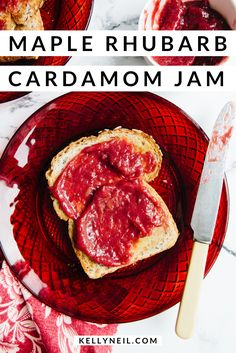 A simple, spring-inspired, small-batch rhubarb jam, lightly sweetened with maple syrup, with a gentle warming note from ground cardamom. Rhubarb Curd, Rhubarb Syrup, Rhubarb Jam Recipes, Rhubarb Desserts, Canadian Food, Canadian Cuisine, Canadian Recipes, Sauces, Maple Syrup Recipes