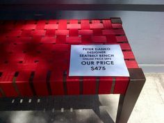 Bench made from old seatbelts