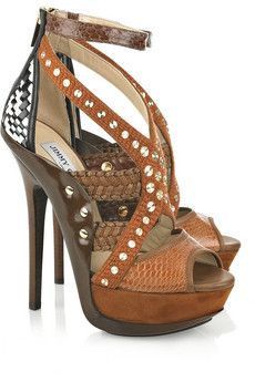 Jimmy Choo - 'Vivienne' Embellished Leather and Snakeskin Sandals