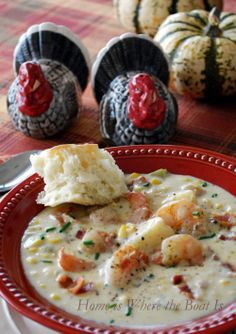 Cream of Plenty Soup aka Shrimp and Corn Chowder, plenty of flavor and plenty hearty! @ Home is Where the Boat Is #soup