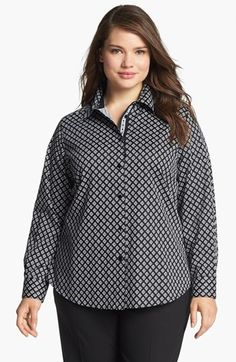 Foxcroft Foulard Print Shirt (Plus Size) available at #Nordstrom