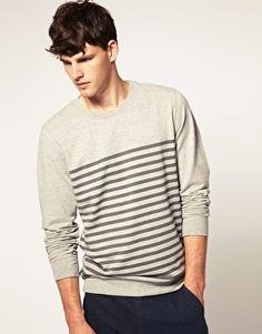 ASOS Drop Chest Stripe Crew Neck Sweat Shirt - StyleSays