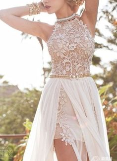 Princess halter floor length chiffon white prom dress with appliques npd098005 sale at shopindress.com: