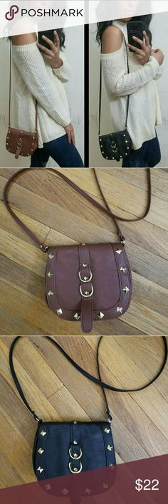 🍃BOGO🍃BROWN BLACK GOLD BUCKLE CROSSBODY BAG Beautiful crossbody with gold diamond shaped hardware. Non adjustable strap. Decorative buckles. Love it!   Price firm unless bundled Bags Shoulder Bags