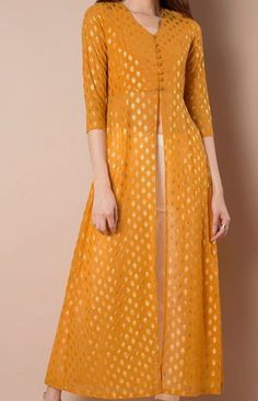 Buy women Foil Print Maxi Tunic - Mustard online in India. Shop latest collection of High Slit Tunics for women with COD and easy return at Indya. Pakistani Dresses, Indian Dresses, Indian Outfits, Indian Attire, Indian Ethnic Wear, Kurta Designs, Blouse Designs, Latest Kurti Designs, Kurti Styles