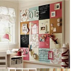 Use scrapbook paper to create squares, each space can be used for something else. I might need to do this in the office!...maybe for an inspiration board- each room planned out per square.