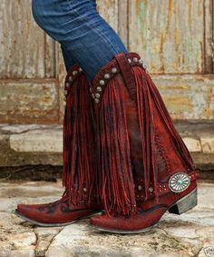 Gorgeouse Lane Boots For DD Ranch Prescott Fringed Cowgirl Boots Red in Boots | eBay