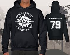 Colour: Black Back Print (choose from drop menu): DEAN WINCHESTER 79 SAM WINCHESTER 83 Quality: Soft and comfy hoodies. Premium quality blend bring a soft fit with a bit of stretch, making it a good for different body shapes. Print will not crack or fade, soft and smooth