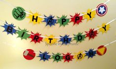 Avengers Superhero Shield Banner - Happy Birthday - Personalized additions available by sparklebystephanie on Etsy