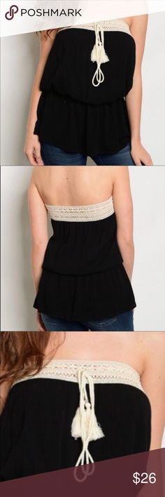 Black Crochet Tassel Tie Tube Top - size M Black Crochet Tassel Tie Tube Top w/ elastic cinch waist- 100% Rayon- BUNDLE & SAVE!!! 4 item limit per bundle due to shipping weight restrictions! Tops