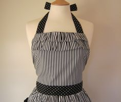 Retro+apron+with+ruffles+black+and+white+striped+by+RosieAnnShop,+£22.00