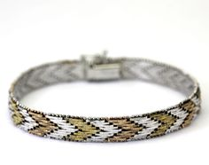 Tri-Colored Sterling Silver Textured Woven Bracelet Made in Italy