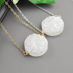 White Druzy Necklace - Your Choice Silver or Gold Druzy Necklace - Druzy Pendant Necklace - Layering Necklace - Druzy Layered Necklace by MyDistinctDesigns on Etsy