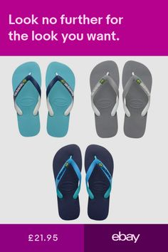 13766a56de295e HAVAIANAS BRASIL MIX FLIP FLOPS (Choice of 3 colours) UK3 - UK12