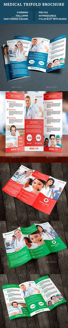 Medical Tri-Fold Brochure V1 Tri fold brochure template, Tri - medical brochure template