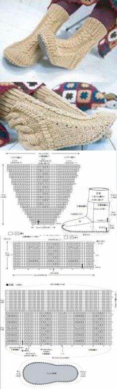 Вязанные тапочки теплые ножки - 24 Октября 2011 - СХЕМЫ ВЯЗАНИЯ - Вязание крючком и спицами