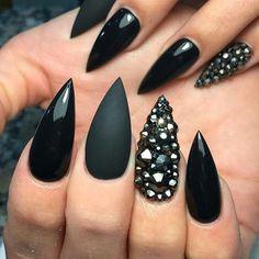cool accent nail: gunmetal rhinestones