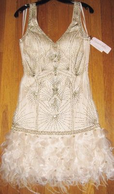 Sz 10 * SUE WONG 1920s Feather Dress Beaded GATSBY Wedding Engagement Prom #SueWong #Featheredbeaded #Cocktail