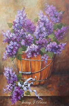 French country lilacs cottage decor Provence wall art lilac painting. I LOVE Lilacs! -- Carole Trese Swanson (1/29/2014) Art: Paintings I Appreciate (CTS)
