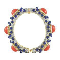 Kenneth Jay Lane Large Coral Lapis Bangle | SOPHIESCLOSET.COM | Designer Jewelry & Accessories