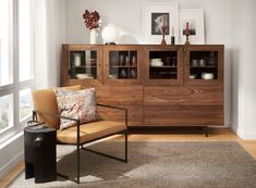 Modern Room, Modern Chairs, Modern Living, Modern Cabinets, Custom Cabinets, Wood Storage Cabinets, Chair And Ottoman, Dining Room Furniture, Home Decor Inspiration