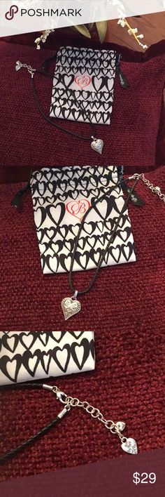 💕Brighton Classic Heart Pendant w/Leather Cord Beautiful Brighton Heart Pendant on Black Leather Cord Necklace. NWT  Comes with Brighton Gift Bag 😘 Brighton Jewelry Necklaces