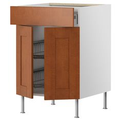 AKURUM Base cb w wire basket/drawer/2 door - birch effect, Ädel medium brown - IKEA