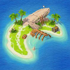 Isometric island on Behance Landscape Concept, Fantasy Landscape, Environment Concept Art, Environment Design, Minecraft Banner Designs, Isometric Art, World Map Art, Modelos 3d, Fantasy Island