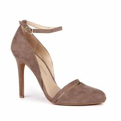 Women's Dark Grey Faux Suede 4 Inch Ankle Strap Pump...apparently Julianne Hough makes shoes and they're really cute and only $30