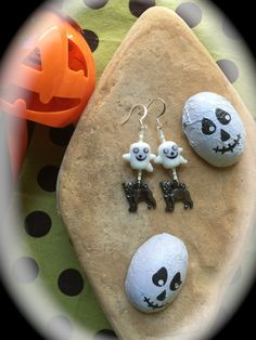 LITTLE GHOST HALLOWEEN Earrings-Abstract by WhimsicalMystical