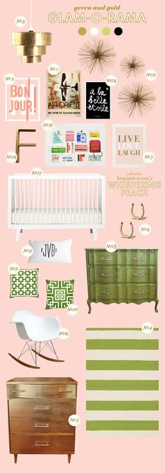 glam-o-rama - white crib, green dresser or changing table, maybe pink accents
