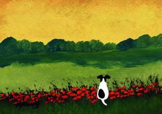 Smooth Fox Terrier dog art PRINTof Todd Young painting MONETs GARDEN. $12.50, via Etsy.