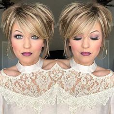 28 Beautiful Makeup Ideas For Prom Every young lady need to look the beautiful and stylish in the prom party. To appear in your best looks, you need to choose your makeup for prom. Short Red Hair, Short Hair With Layers, Short Hair Cuts For Women, Short Hair Styles, Cool Short Hairstyles, Trending Hairstyles, Layered Hairstyles, Swing Bob Hairstyles, Scene Hairstyles