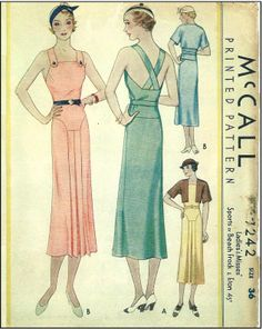 1930s Ladies Sports or Beach Frock With Eton Jacket - Sewing Pattern - McCall #7242