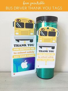 """Let's not forget about our reliable bus drivers who get our children to school safely all year long! Use these themed gift card holder tag or gift tag to """"wrap"""" and deliver your bus driver gifts. Sim Bus Driver Appreciation, Teacher Appreciation Week, Teacher Gifts, Teacher Thank You Cards, Employee Appreciation, Teacher Stuff, Bus Driver Gifts, School Bus Driver, School Gifts"""