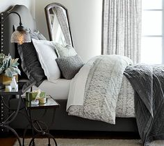 Glamourous grays in the bedroom.