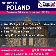 Careergro Overseas Consultant is one of the best study abroad consultants in Hyderabad. We provide best services for study, work and want to migrate abroad. Overseas Education, Ielts, Study Abroad, Poland, Taj Mahal, University, English Study, Colleges, World