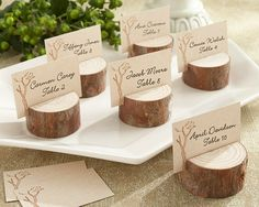 Fall-Themed Bridal Shower Decorations | Rustic Real-Wood Place Card/Photo Holder (Set of 4) Wedding Favors
