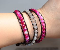 Raspberry Bracelet with mellow and grey agate 6mm on leather cord 3 wrap for you by NKJewelryDesigns on Etsy