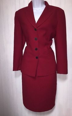 KASPER WOMENS RED BUSINESS CAREER SKIRT SUIT SIZE 8  | eBay