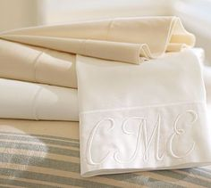 PB Organic 350-Thread-Count Sateen Sheet Set DIY. You can find cheaper versions of this Pottery Barn sheet set and have a monogrammer monogram it for way cheaper than PB would charge!